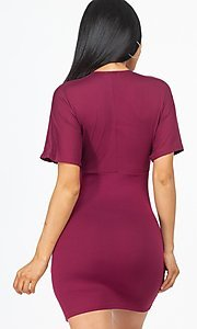 Image of short sleeve casual bodycon mini party dress. Style: LAS-CAP-21-BD2459 Back Image