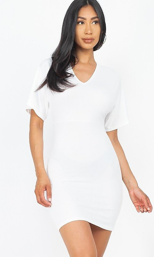 Image of short sleeve casual bodycon mini party dress. Style: LAS-CAP-21-BD2459 Detail Image 2