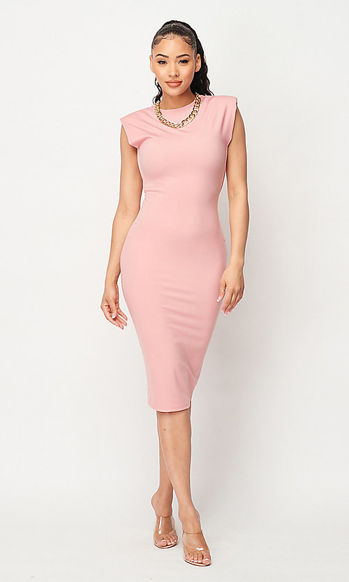Image of midi wedding guest party dress with gold chain. Style: LAS-PRI-21-PD75705K Detail Image 1