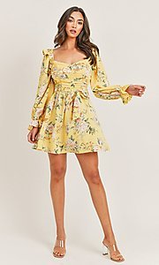 Image of long sleeve yellow print short casual party dress. Style: LAS-PRI-21-PD71138E Detail Image 1