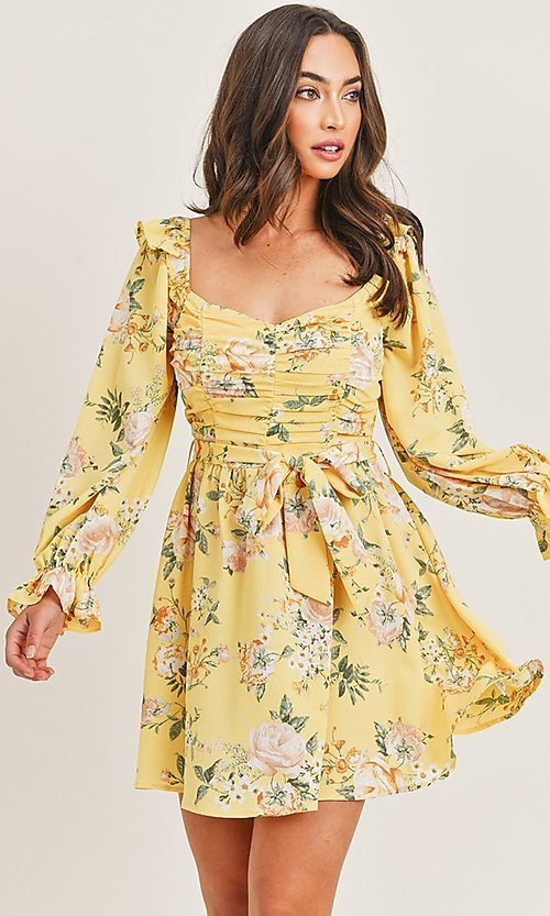 Image of long sleeve yellow print short casual party dress. Style: LAS-PRI-21-PD71138E Front Image