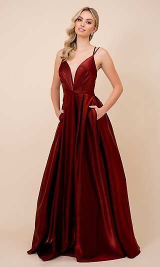 Statement Back Long Satin A-Line Prom Ball Gown