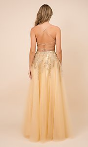 Image of embroidered gold sparkly long tulle prom dress. Style: NA-21-R345 Back Image