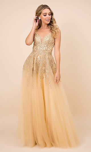 Embroidered Gold Sparkly Long Tulle Prom Dress