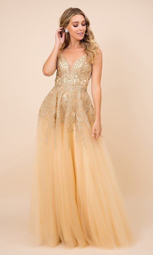 Image of embroidered gold sparkly long tulle prom dress. Style: NA-21-R345 Front Image