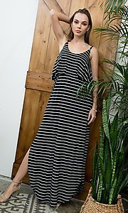 Image of striped popover casual maxi dress with pockets. Style: LAS-SWE-21-SD5318 Front Image