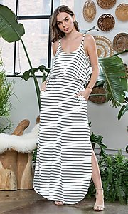 Image of striped popover casual maxi dress with pockets. Style: LAS-SWE-21-SD5318 Detail Image 2