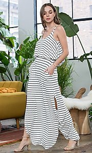 Image of striped popover casual maxi dress with pockets. Style: LAS-SWE-21-SD5318 Detail Image 4