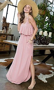 Image of striped popover casual maxi dress with pockets. Style: LAS-SWE-21-SD5318 Detail Image 5