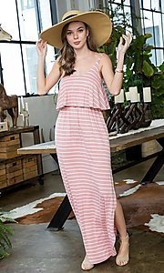 Image of striped popover casual maxi dress with pockets. Style: LAS-SWE-21-SD5318 Detail Image 6