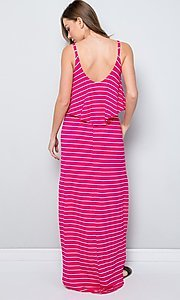 Image of striped popover casual maxi dress with pockets. Style: LAS-SWE-21-SD5318 Back Image