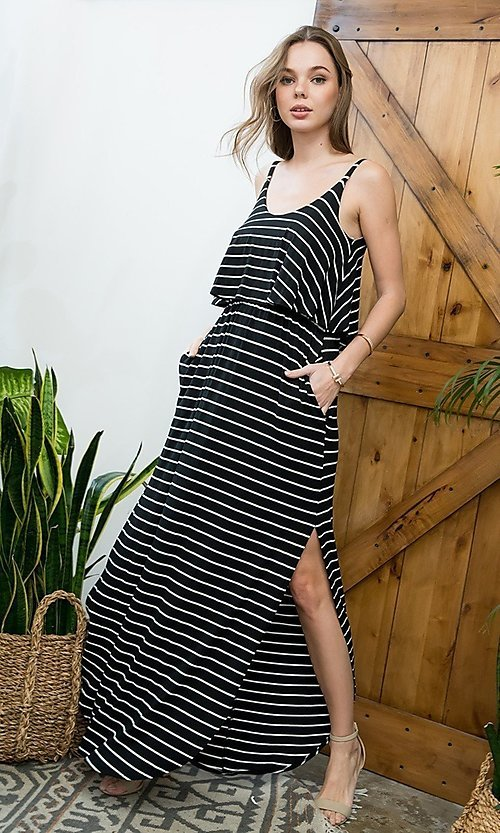 Image of striped popover casual maxi dress with pockets. Style: LAS-SWE-21-SD5318 Detail Image 1