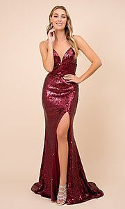Image of long formal sequin prom gown with corset back. Style: NA-21-R350 Front Image