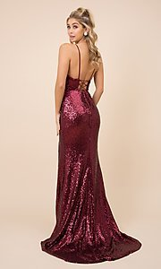 Image of long formal sequin prom gown with corset back. Style: NA-21-R350 Back Image