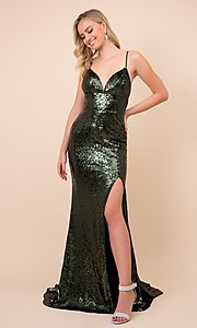 Image of long formal sequin prom gown with corset back. Style: NA-21-R350 Detail Image 3