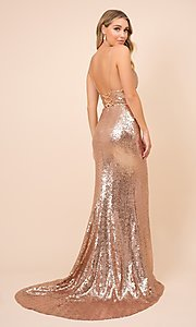 Image of long formal sequin prom gown with corset back. Style: NA-21-R350 Detail Image 8
