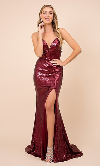 Long Formal Sequin Prom Gown with Corset Back