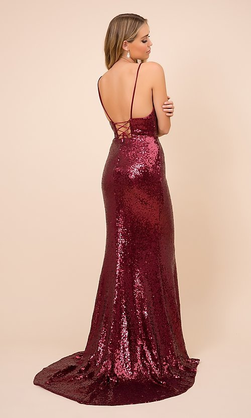 Image of long formal sequin prom gown with corset back. Style: NA-21-R350 Detail Image 2