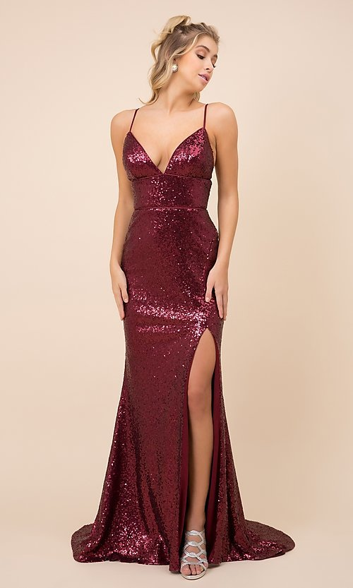 Image of long formal sequin prom gown with corset back. Style: NA-21-R350 Detail Image 1