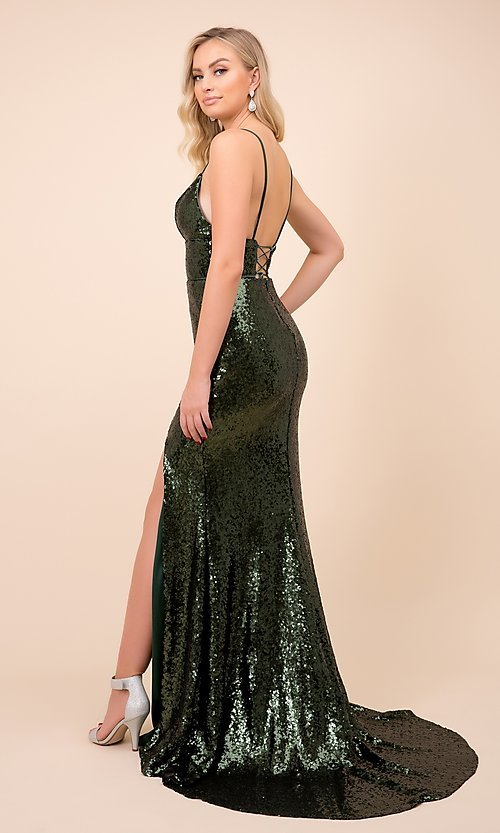 Image of long formal sequin prom gown with corset back. Style: NA-21-R350 Detail Image 4