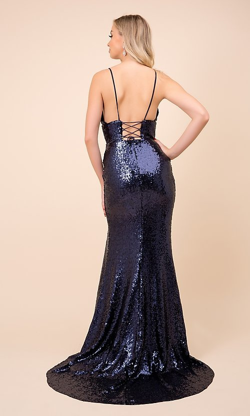 Image of long formal sequin prom gown with corset back. Style: NA-21-R350 Detail Image 6