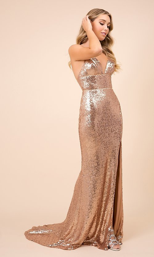 Image of long formal sequin prom gown with corset back. Style: NA-21-R350 Detail Image 7