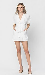 Image of short-sleeve button-up short casual party romper. Style: LAS-TCC-21-LR4005 Detail Image 3