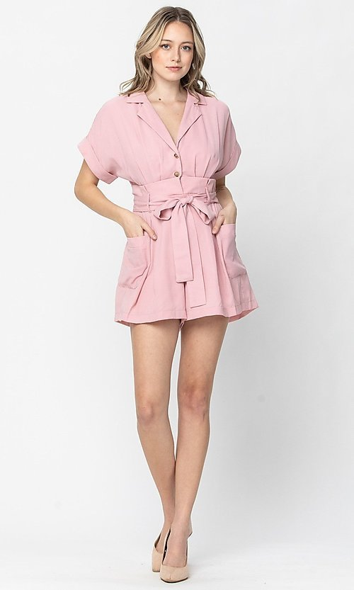 Image of short-sleeve button-up short casual party romper. Style: LAS-TCC-21-LR4005 Front Image