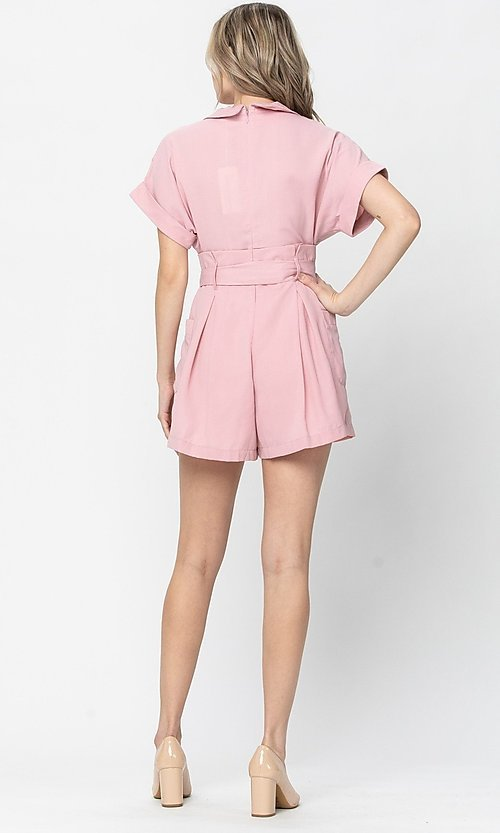 Image of short-sleeve button-up short casual party romper. Style: LAS-TCC-21-LR4005 Back Image