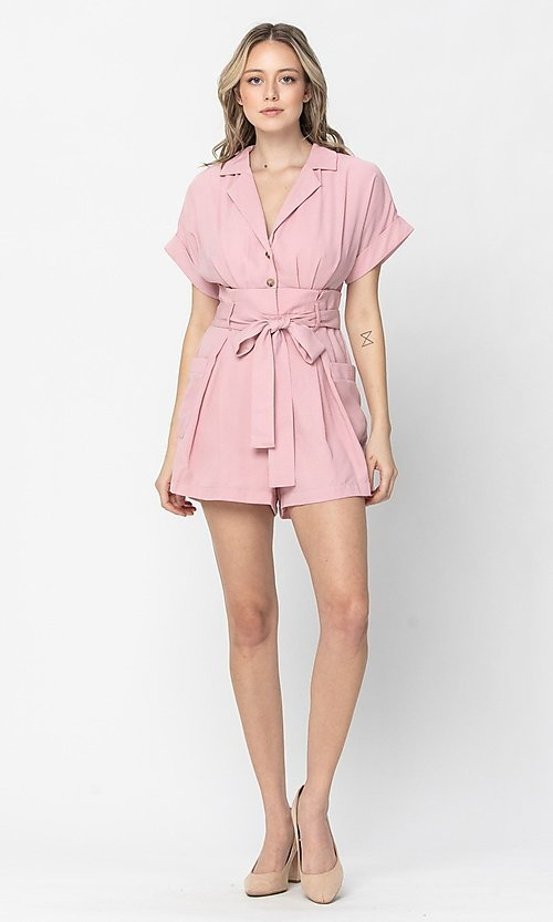 Image of short-sleeve button-up short casual party romper. Style: LAS-TCC-21-LR4005 Detail Image 1