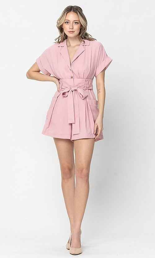 Image of short-sleeve button-up short casual party romper. Style: LAS-TCC-21-LR4005 Detail Image 2
