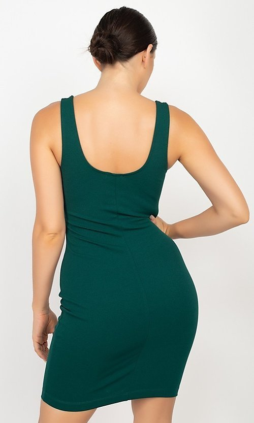 Image of fitted simple wedding-guest short party dress. Style: LAS-IRI-21-HMD11023-TC Back Image
