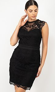 Image of high-neck short wedding-guest lace party dress. Style: LAS-IRI-21-HMD12684 Front Image