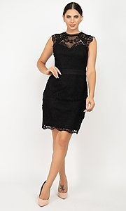 Image of high-neck short wedding-guest lace party dress. Style: LAS-IRI-21-HMD12684 Detail Image 1