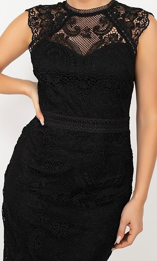 Image of high-neck short wedding-guest lace party dress. Style: LAS-IRI-21-HMD12684 Detail Image 2