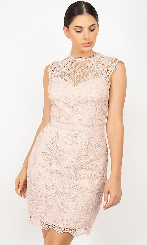 Image of high-neck short wedding-guest lace party dress. Style: LAS-IRI-21-HMD12684 Detail Image 3