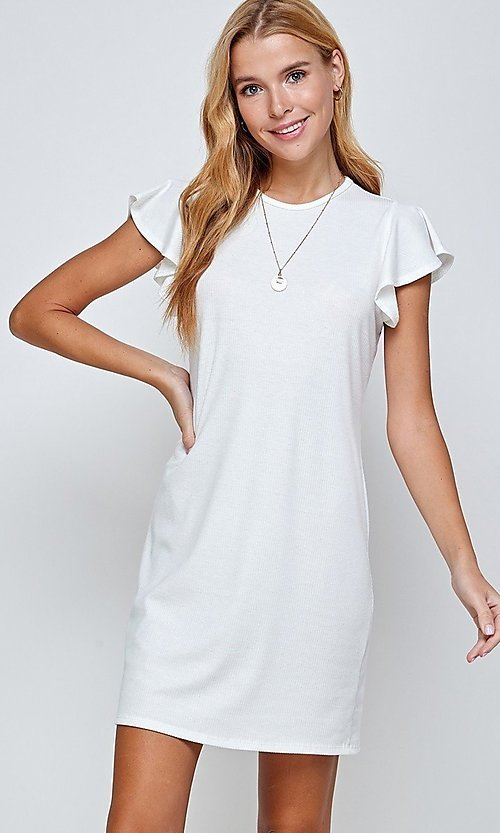Image of flutter-sleeve short casual shift dress. Style: LAS-2H-21-D3094 Front Image