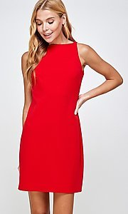 Image of semi-formal sleeveless short simple shift dress. Style: LAS-2H-21-D3167 Front Image