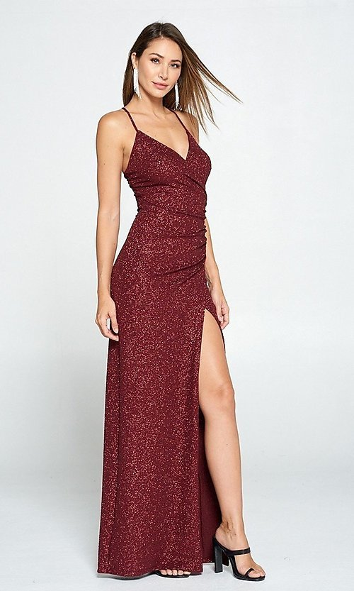 Image of burgundy red glitter long wrap prom dress. Style: LAS-LOV-21-ND2623 Front Image