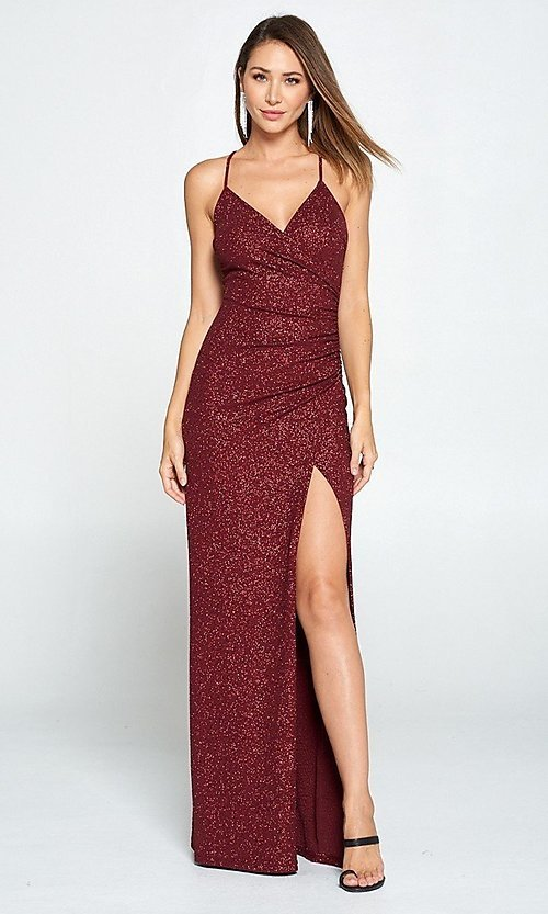 Image of burgundy red glitter long wrap prom dress. Style: LAS-LOV-21-ND2623 Detail Image 1