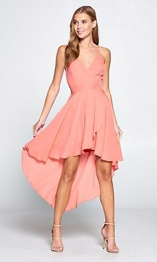 Coral High-Low Wedding-Guest Dress with Lace Back