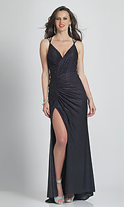 Image of Dave & Johnny strappy-back long black prom dress. Style: DJ-21-A8878 Front Image