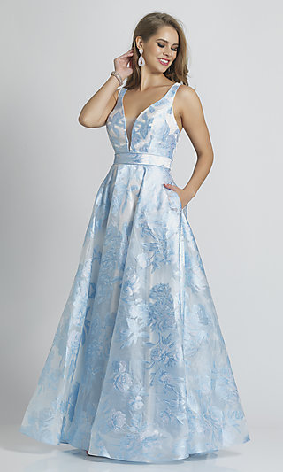 Light Blue Low V-Neck Prom Ball Gown with Pockets
