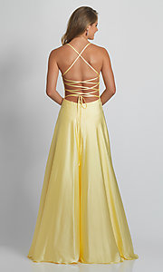 Image of lace-bodice Dave & Johnny long yellow prom dress. Style: DJ-21-A9089 Back Image