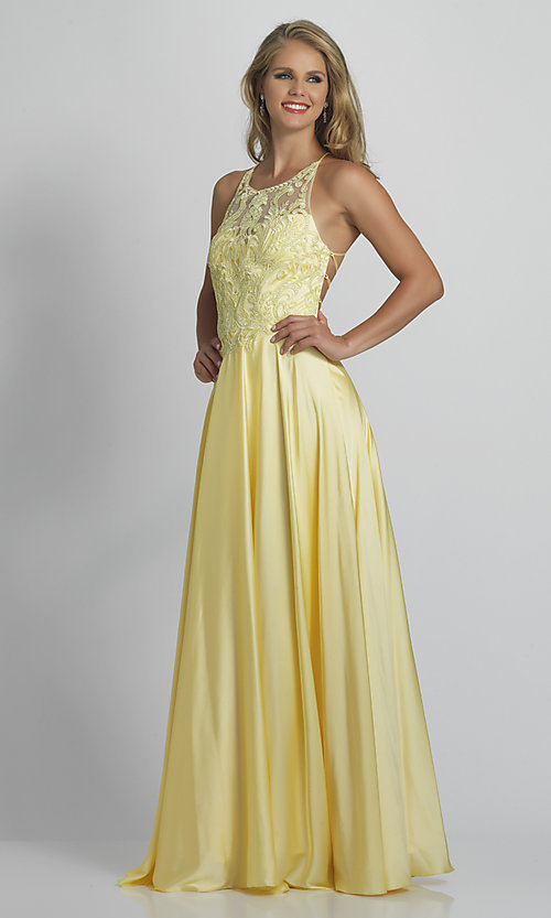 Image of lace-bodice Dave & Johnny long yellow prom dress. Style: DJ-21-A9089 Front Image