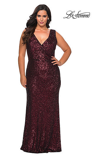 La Femme Plus-Size V-Neck Sequin Long Prom Dress