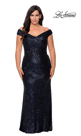 Off-the-Shoulder Allover Sequin Plus-Size Prom Dress