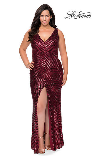 V-Neck Empire Waist Long Plus-Size Prom Dress
