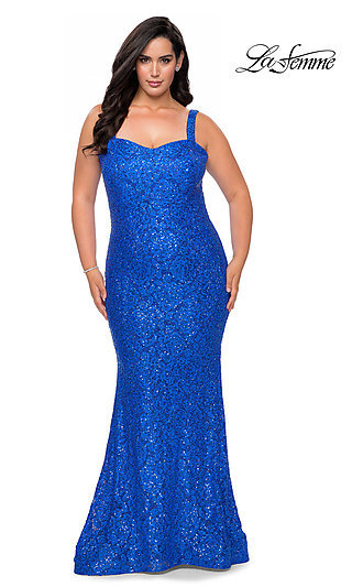 Allover Lace Long Plus-Size La Femme Prom Dress