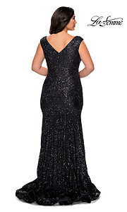 Image of empire-waist long plus-size prom dress by La Femme. Style: LF-21-P28837 Back Image